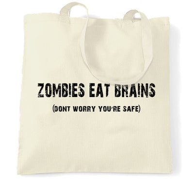 Halloween Tote Bag Zombies Eat Brains, You're Safe