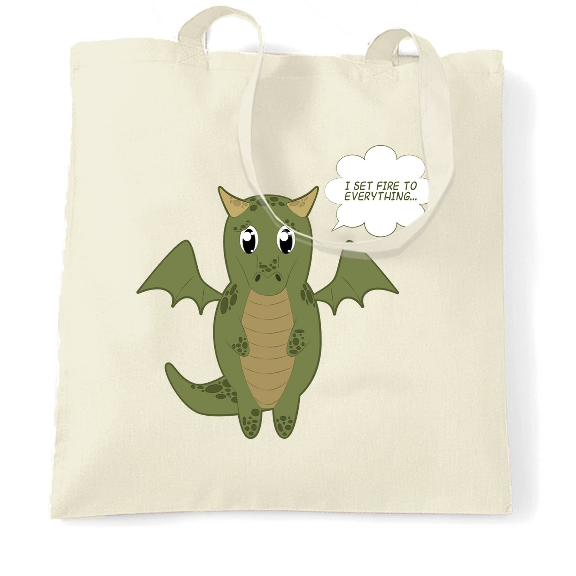 Cute Dragon Tote Bag I Set Fire To Everything Joke