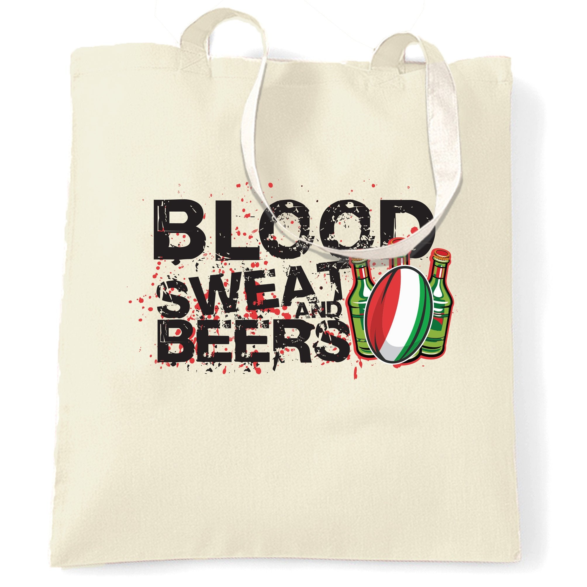 Italy Rugby Supporters Tote Bag Blood, Sweat And Beers