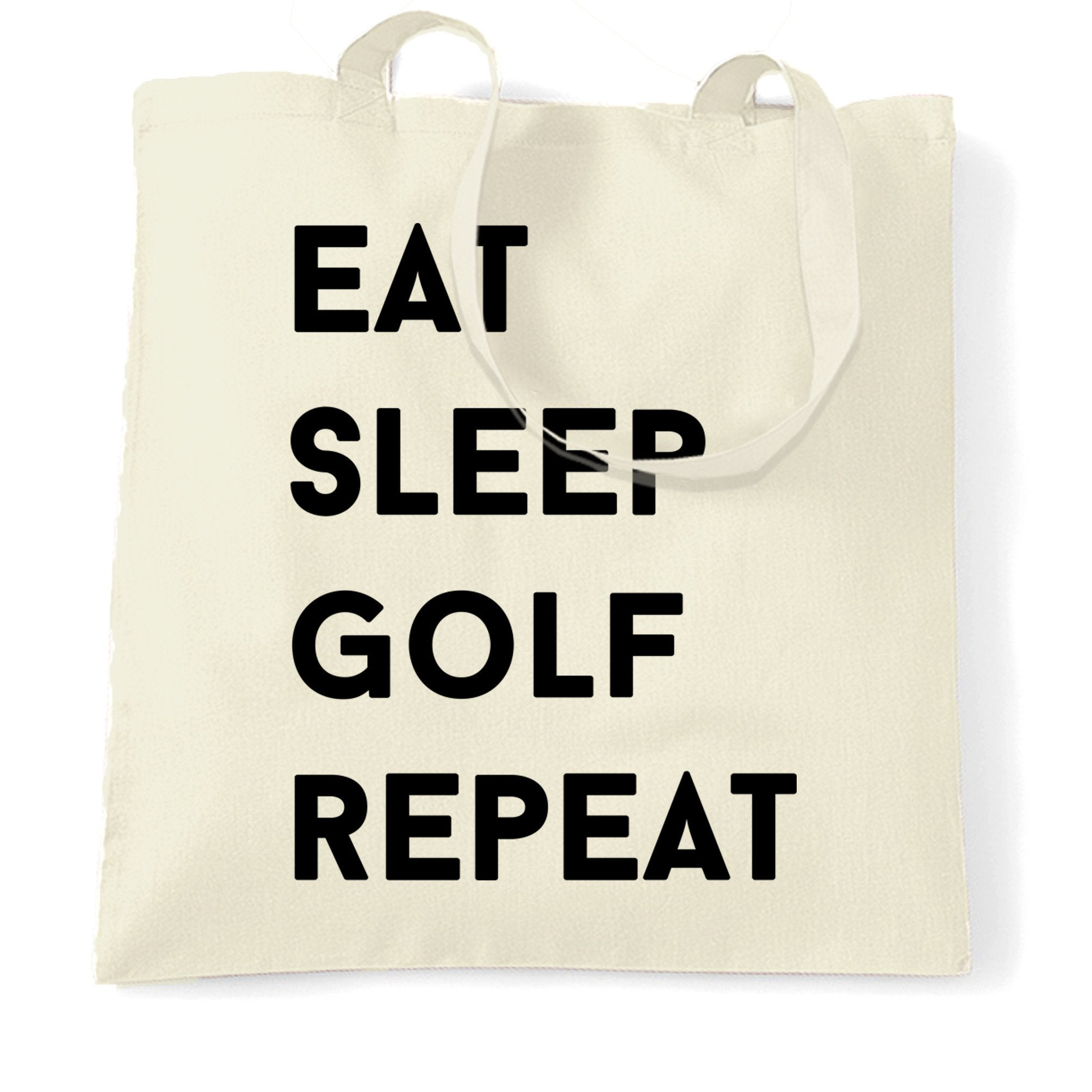 Sports Tote Bag Eat, Sleep, Golf, Repeat Slogan