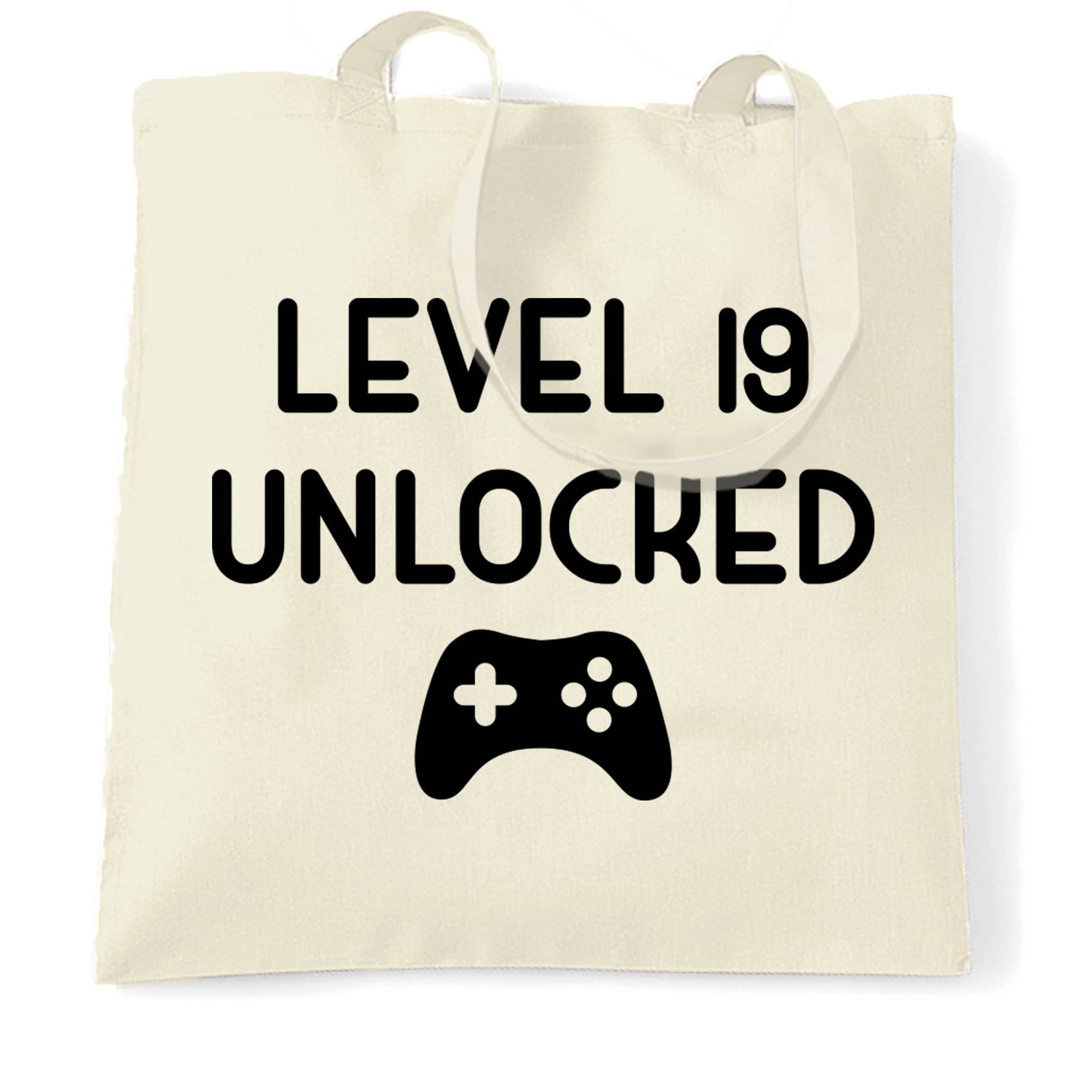 19th Birthday Gamer Tote Bag Level 19 Unlocked Slogan