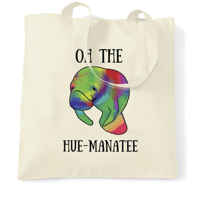 Novelty Pun Tote Bag Oh The Hue-Manatee Humanity