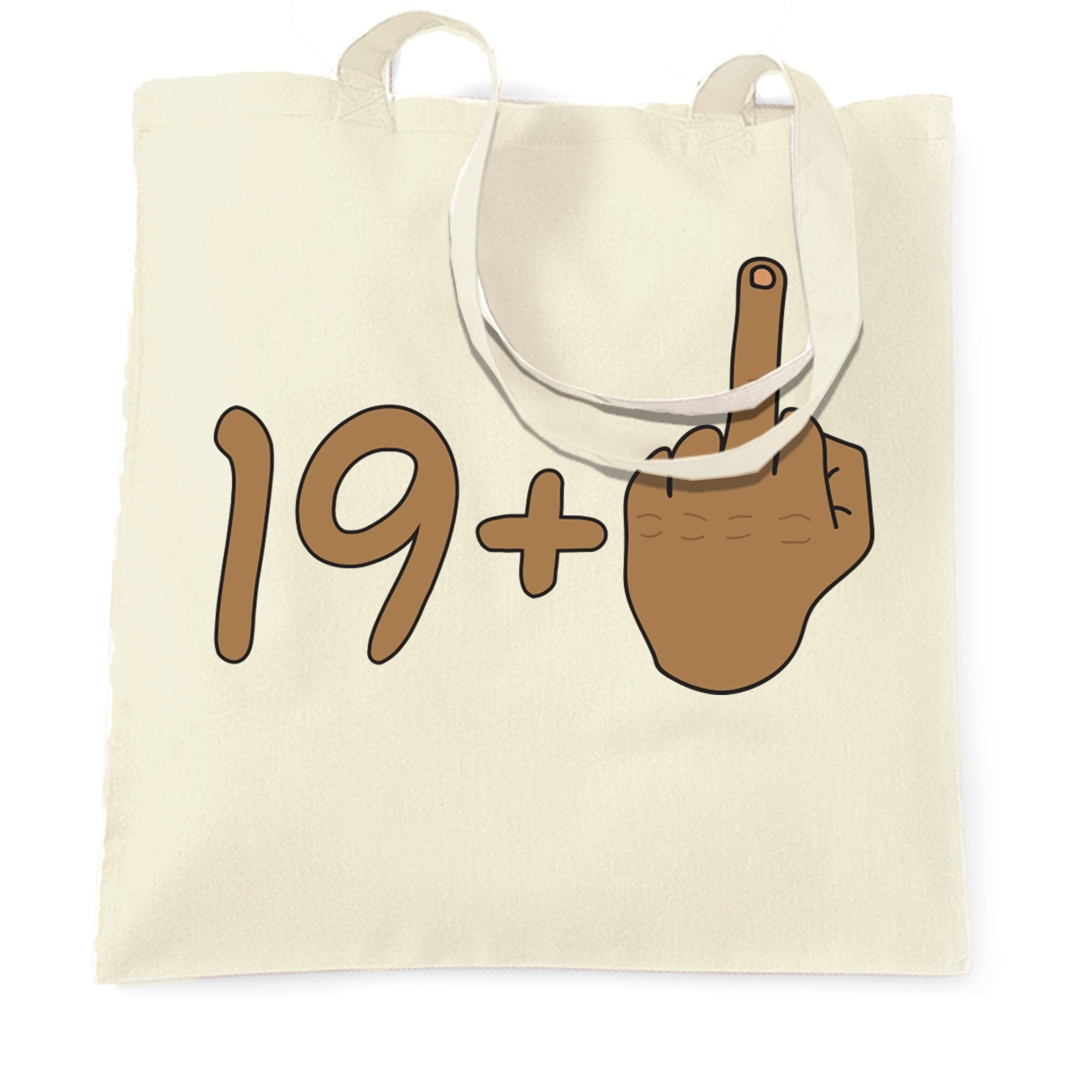 Rude 20th Birthday Tote Bag Tanned Middle Finger