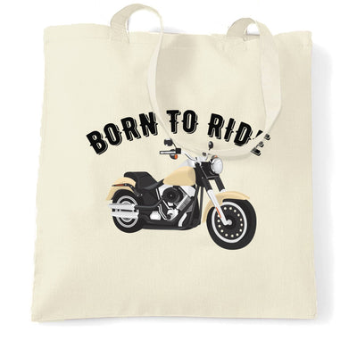 Biker Tote Bag Born To Ride Motorcycle Slogan