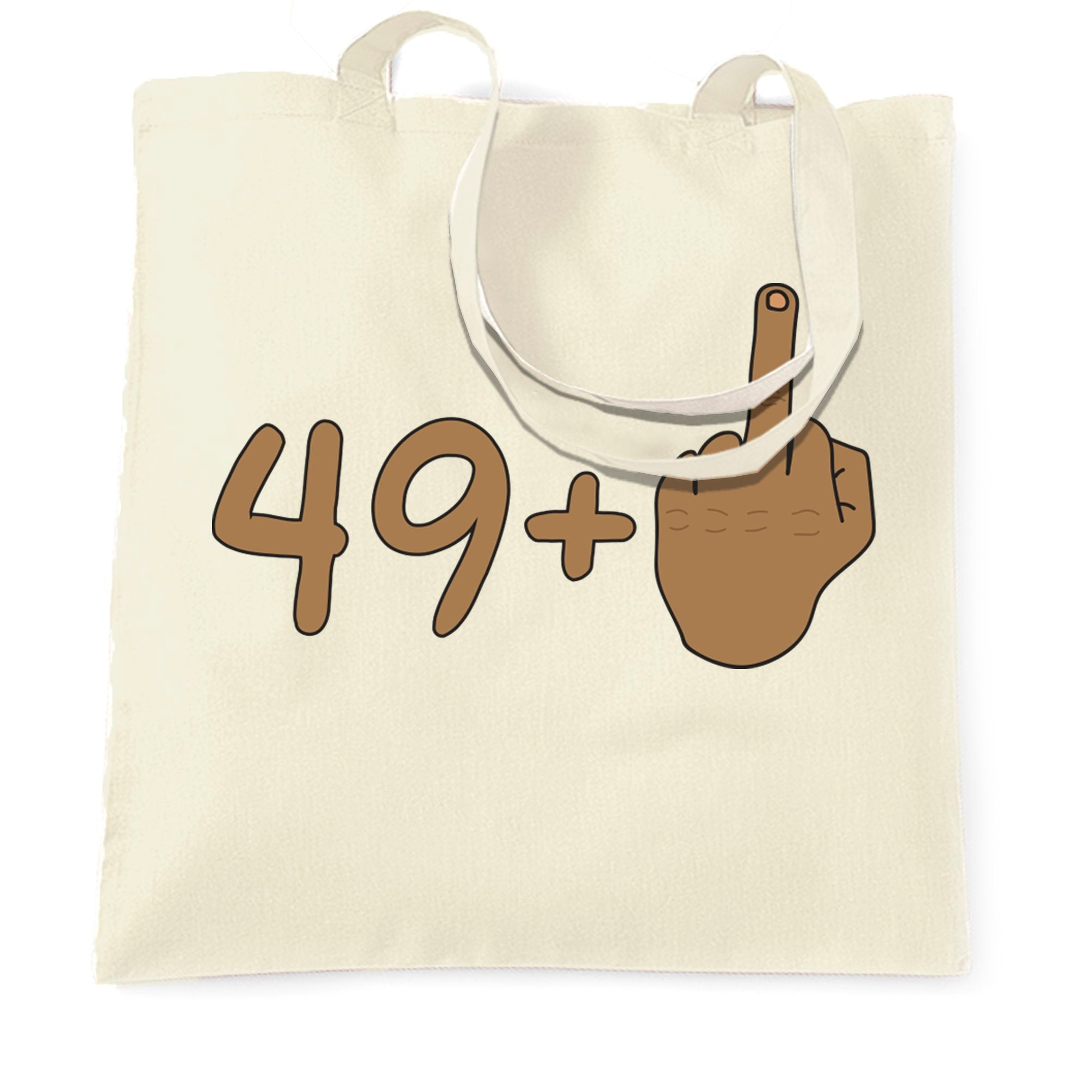 Rude 50th Birthday Tote Bag Tanned Middle Finger
