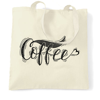 Novelty Slogan Tote Bag Coffee Heart Logo
