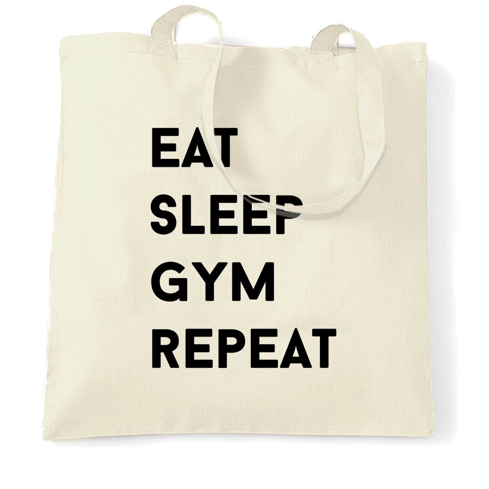 Novelty Tote Bag Eat, Sleep, Gym, Repeat Slogan