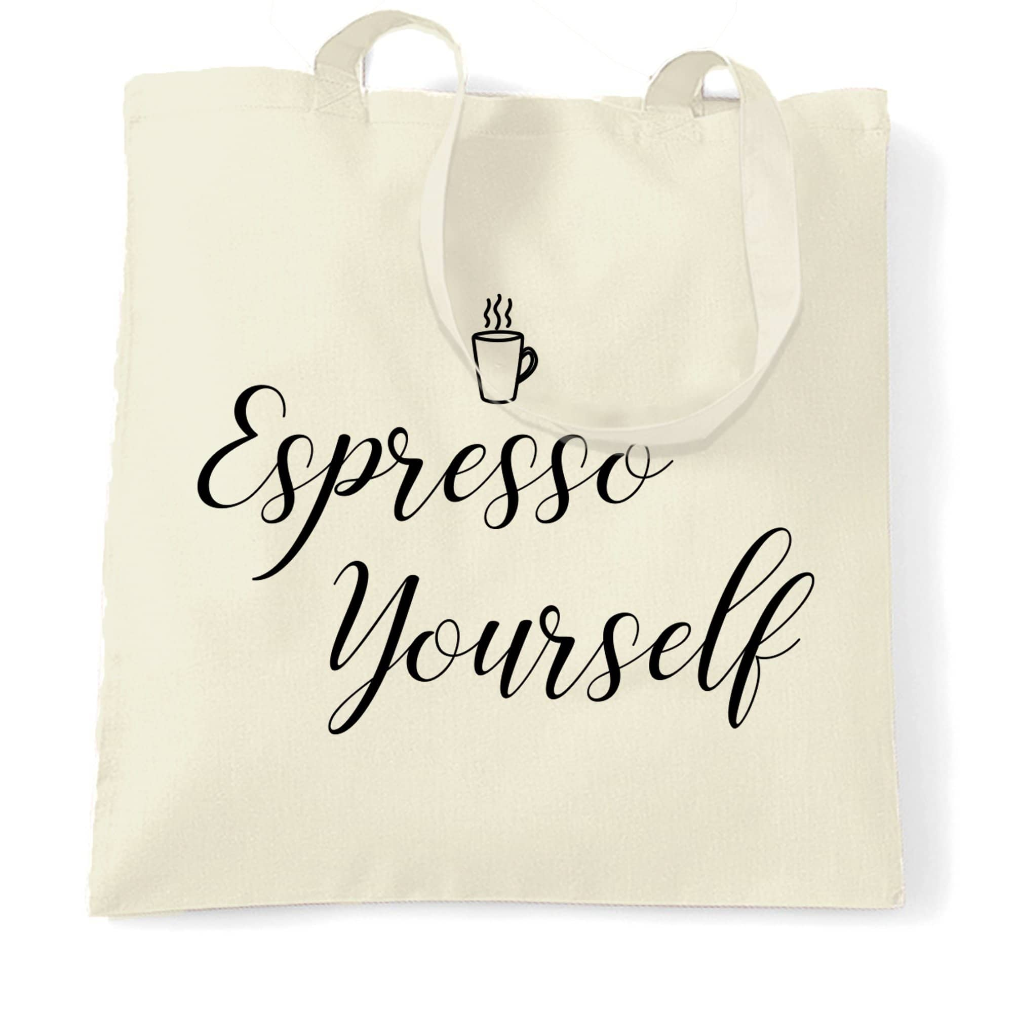 Novelty Coffee Slogan Tote Bag Expresso Yourself Logo