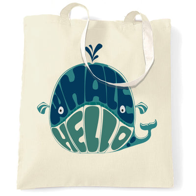 Novelty Tote Bag Whale Hello Sea Life Pun