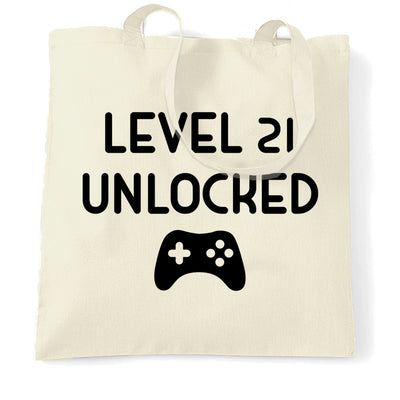 Gamers 21st Birthday Tote Bag Level 21 Unlocked Slogan