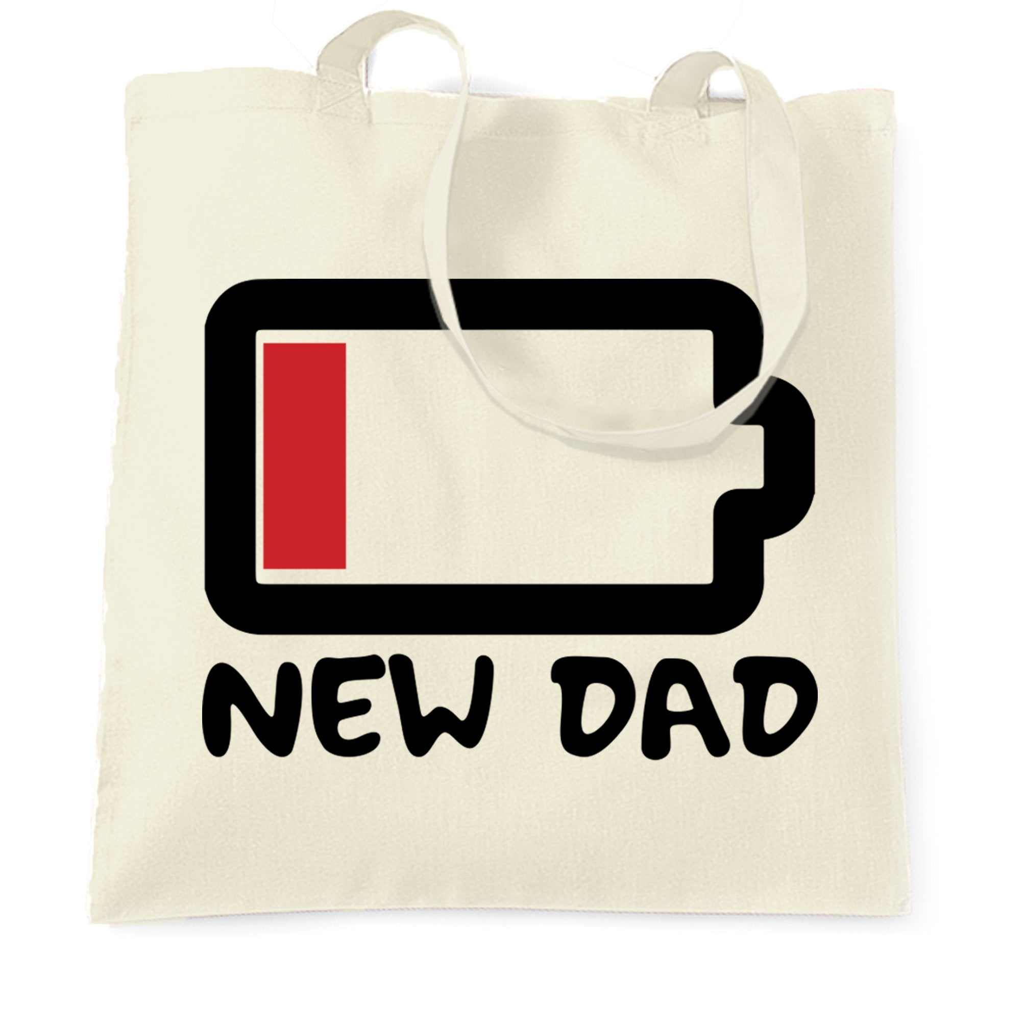 New Dad Tote Bag Low Battery Remaining Novelty Joke