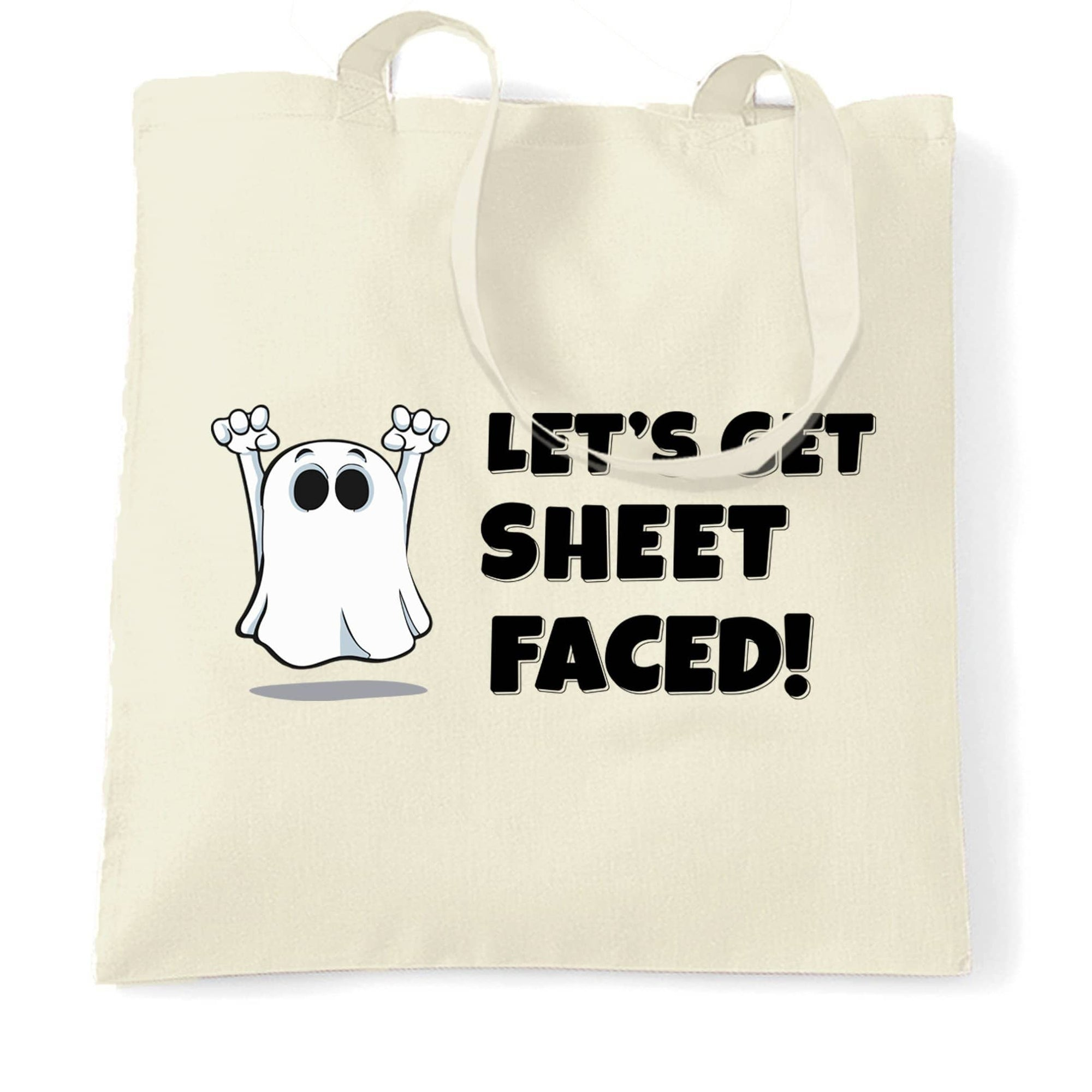 Novelty Halloween Tote Bag Let's Get Sheet Faced
