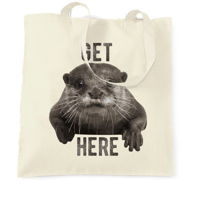 Novelty Animal Tote Bag Get Otter Here Pun