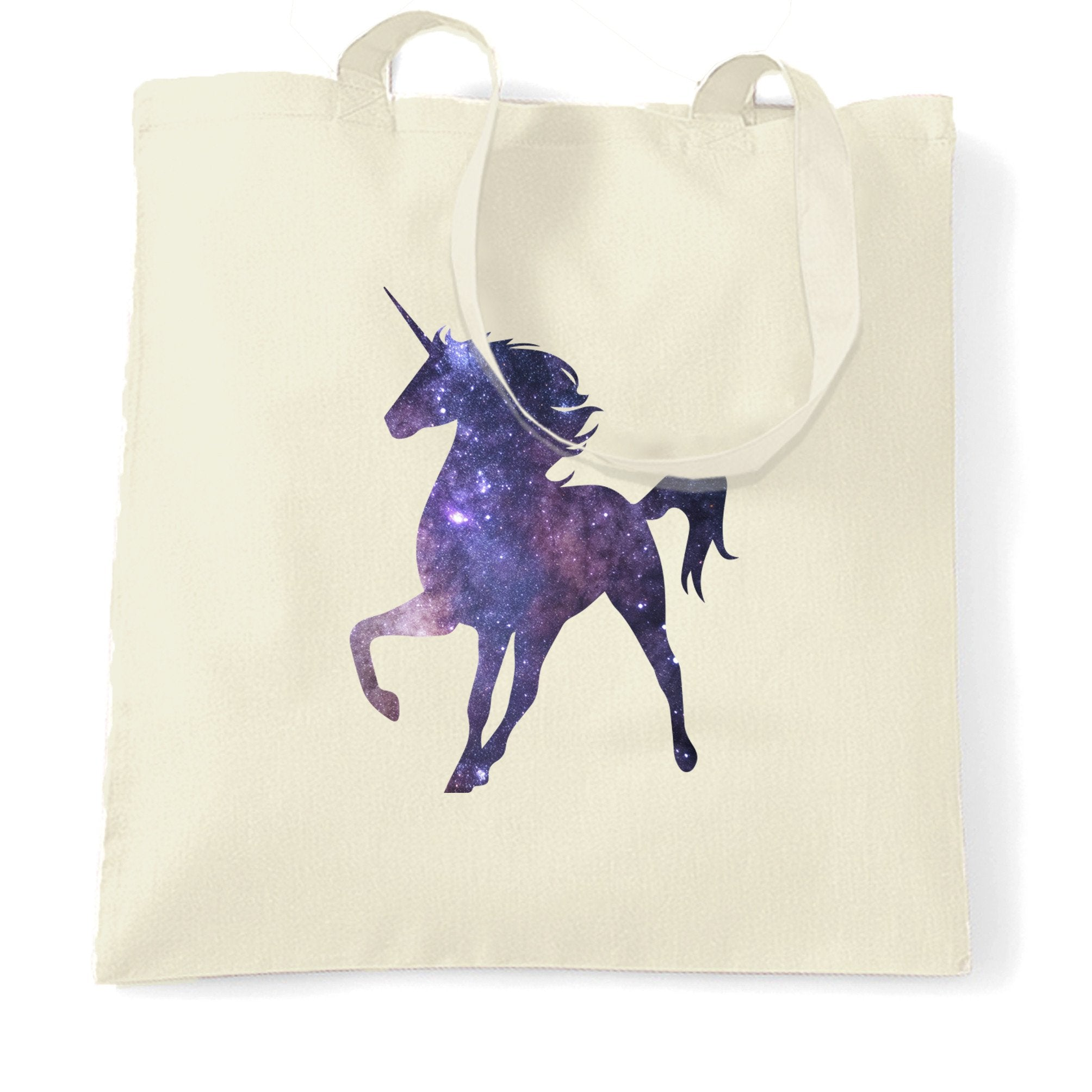 Mythical Space Tote Bag Galaxy Unicorn Silhouette