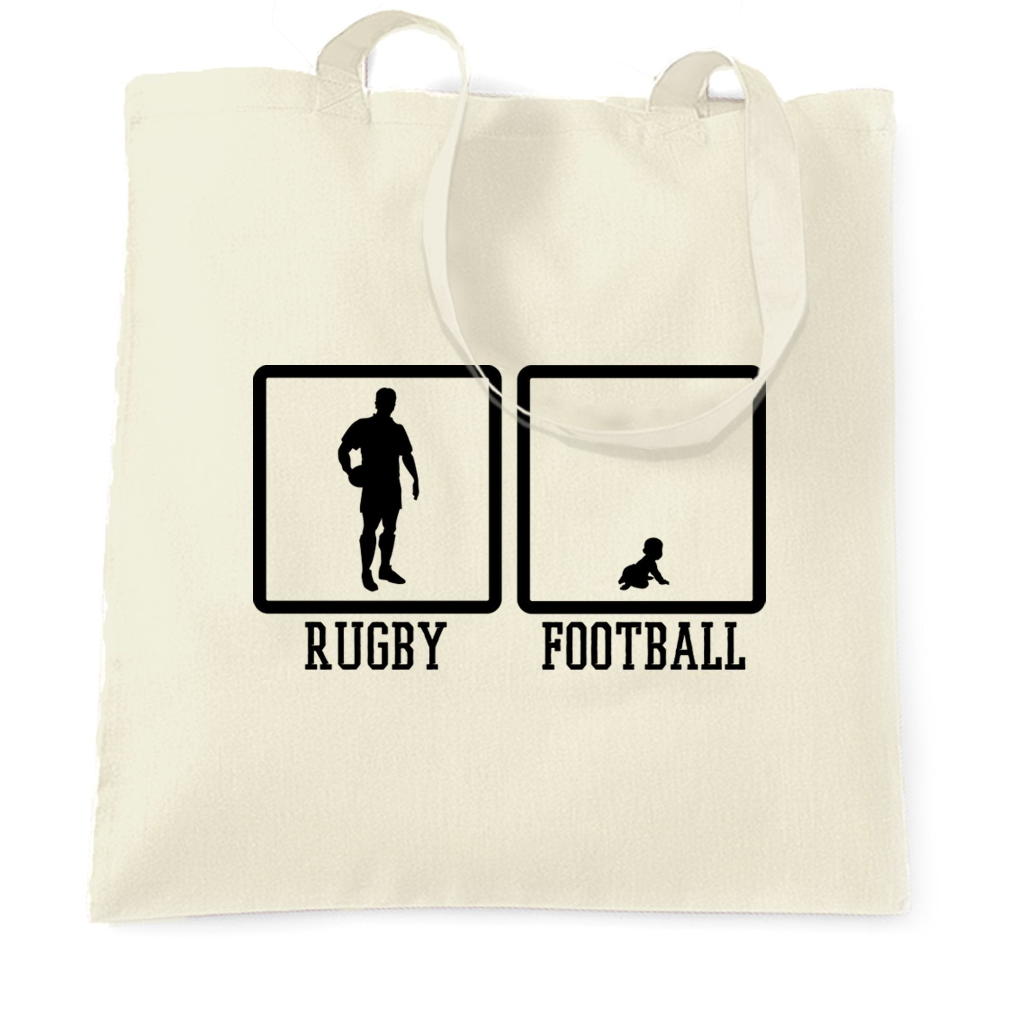 Joke Sports Tote Bag Rugby Vs Football Baby Novelty
