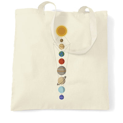 Cool Nerdy Tote Bag Geometric Solar System Space Art