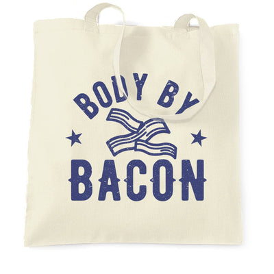Novelty Food Tote Bag Body By Bacon Joke Logo