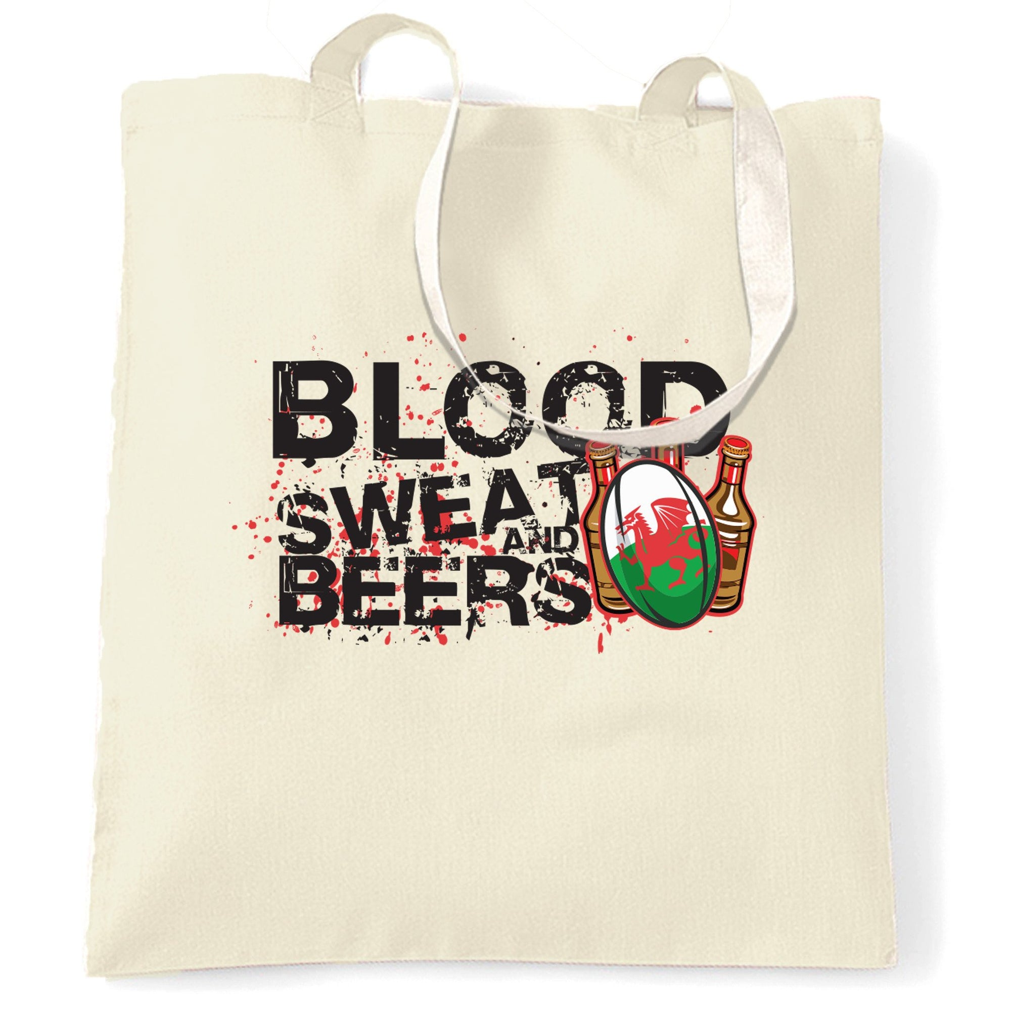 Wales Rugby Supporters Tote Bag Blood, Sweat And Beers