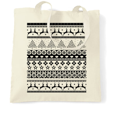 Christmas Tote Bag Xmas Ugly Sweater Pattern