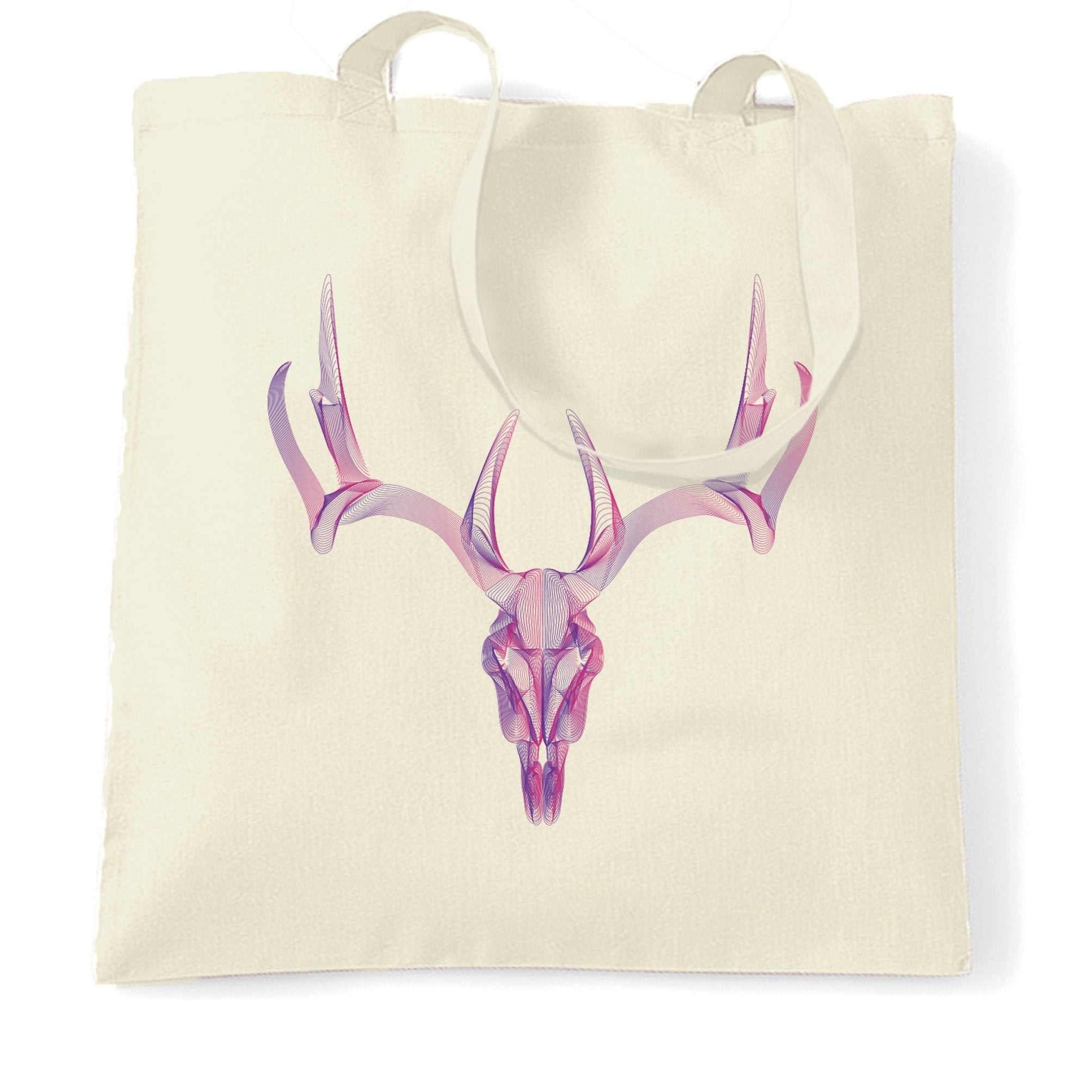 Wireframe Art Tote Bag Geometric Stag Skull Graphic