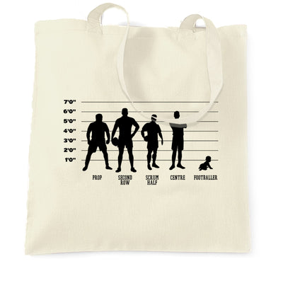 Novelty Sports Tote Bag Rugby Vs Football Baby Lineup