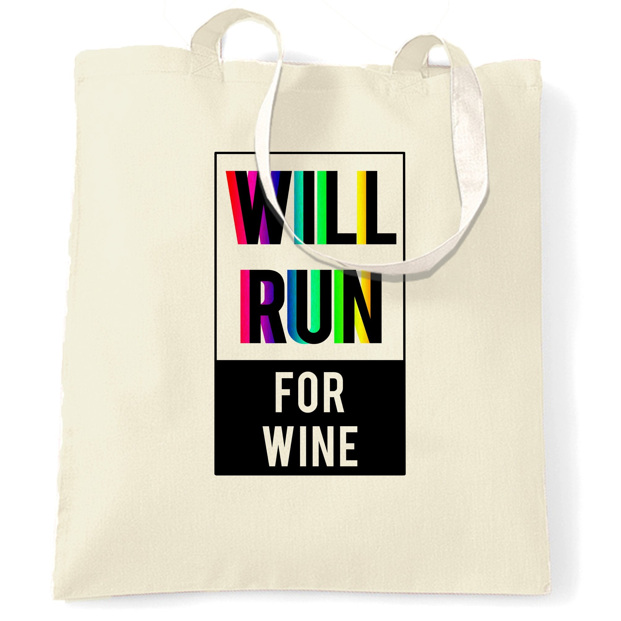 Novelty Tote Bag Will Run For Wine Slogan