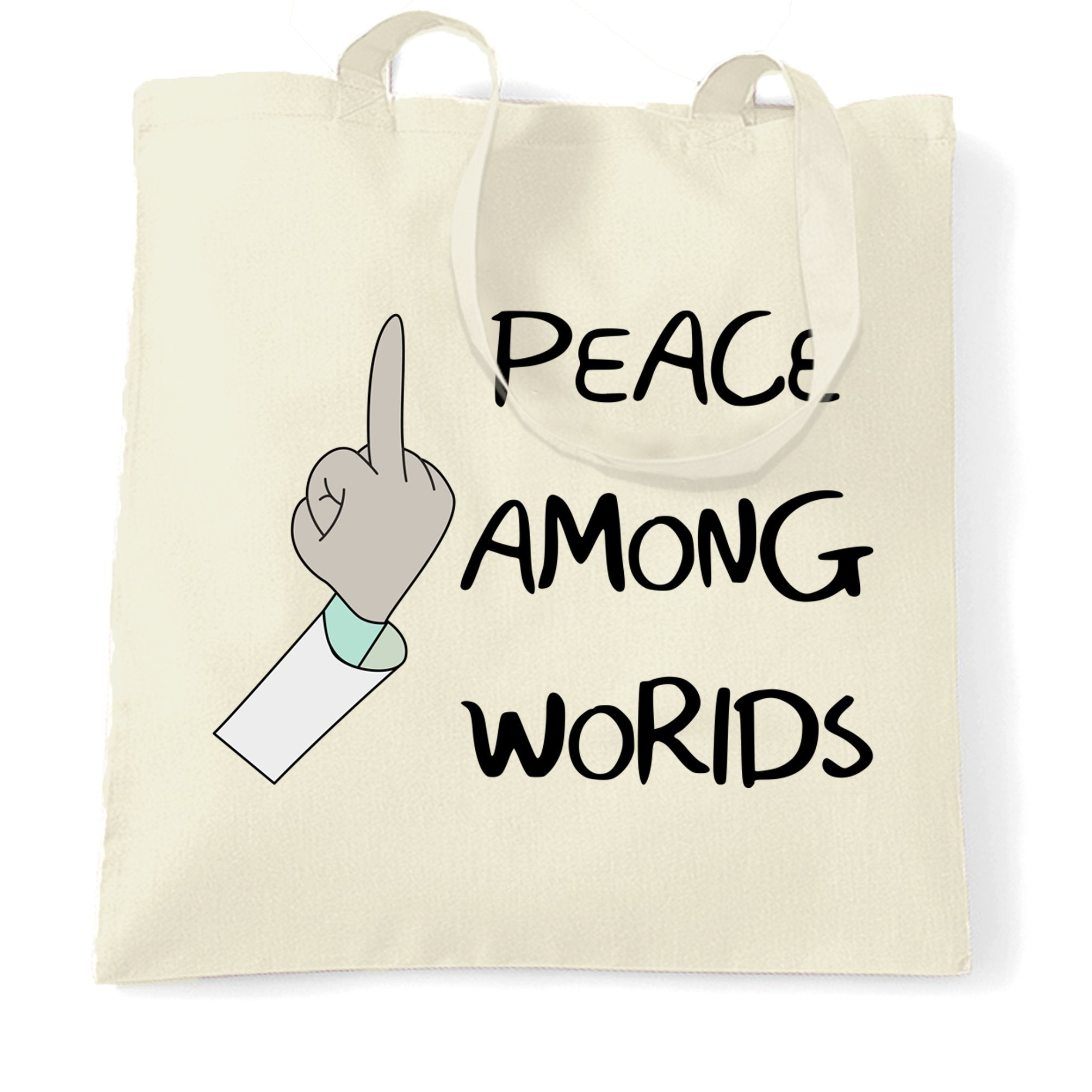 TV Parody Tote Bag Rude Peace Among Worlds