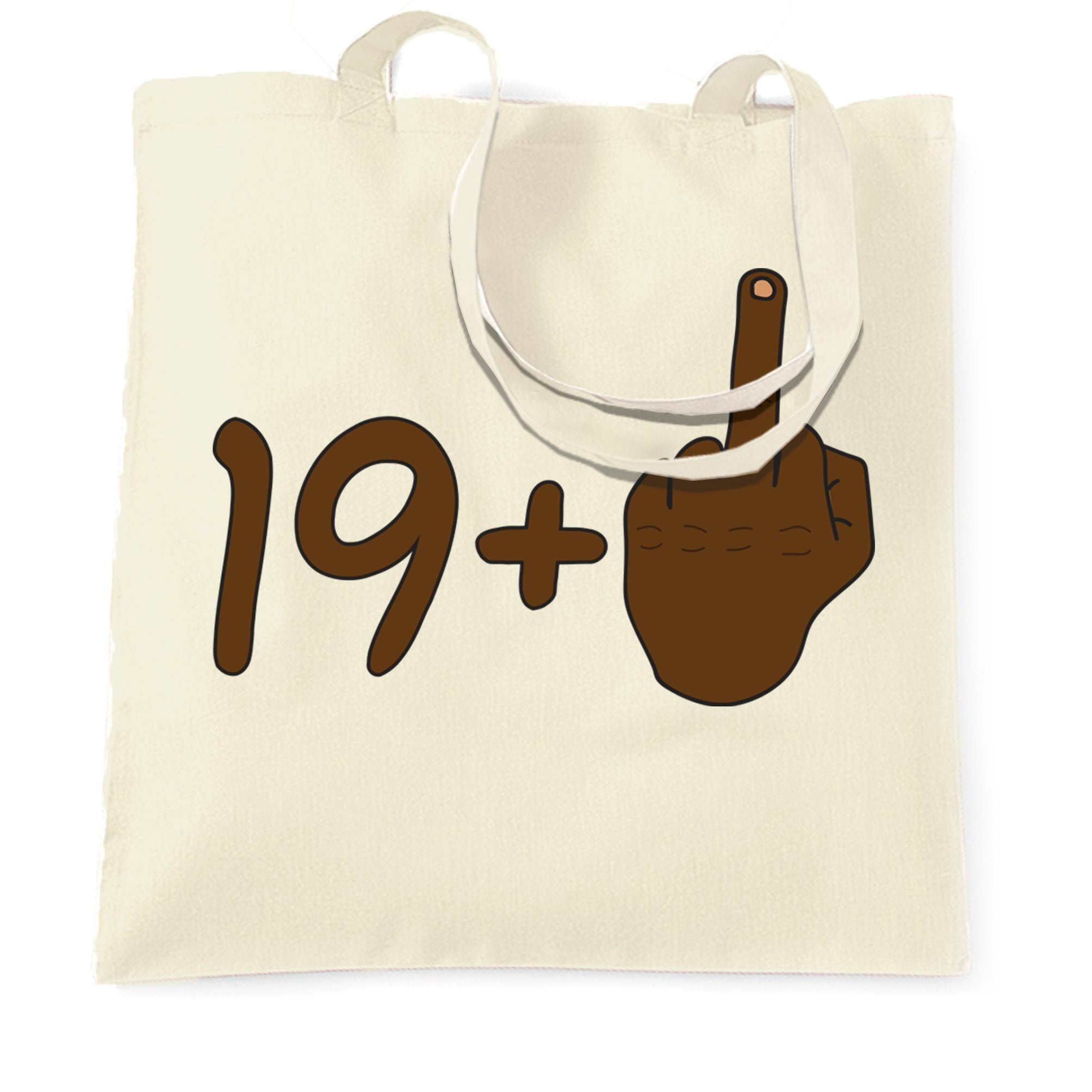 Rude 20th Birthday Tote Bag Black Middle Finger