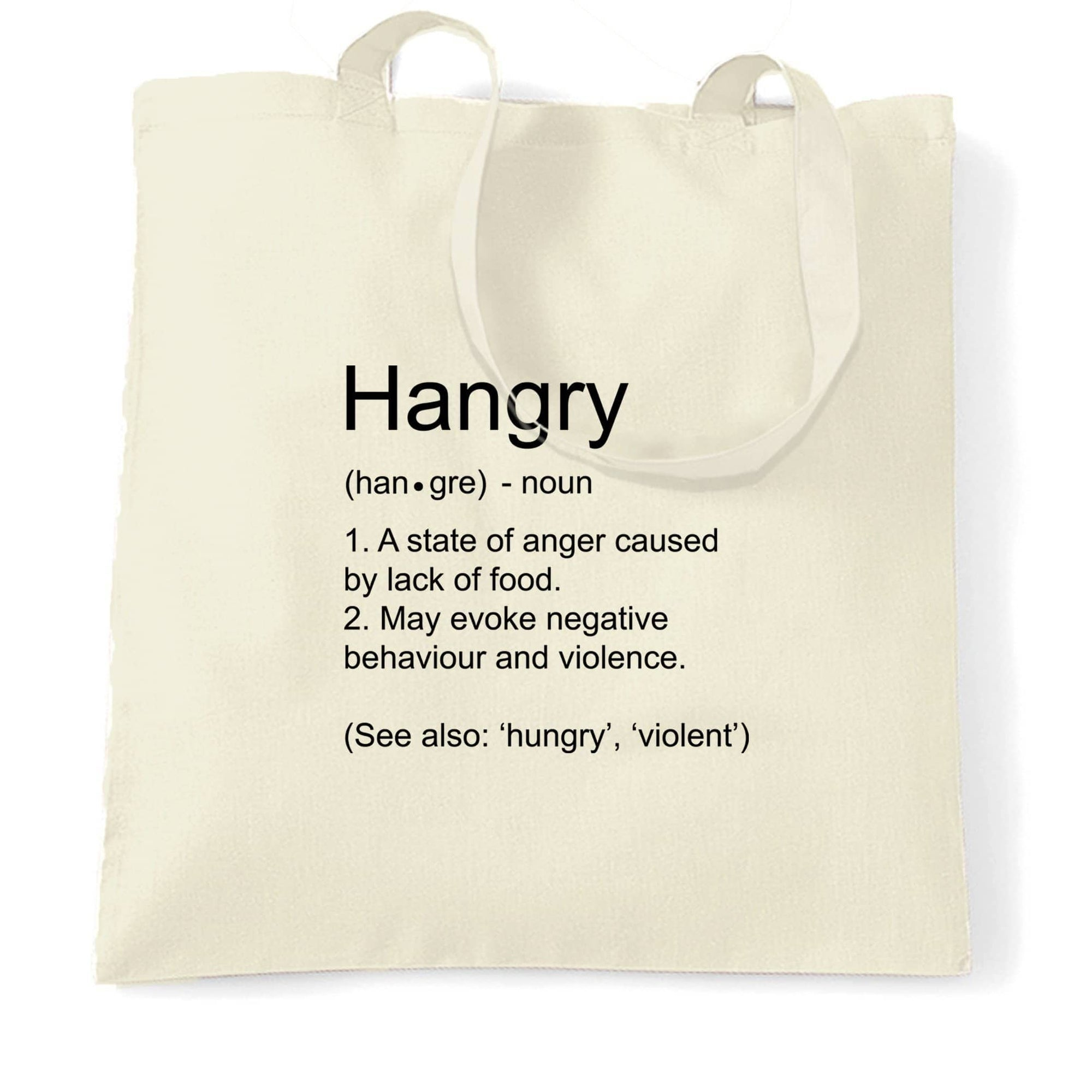 Novelty Food Tote Bag The Definition Of Hangry