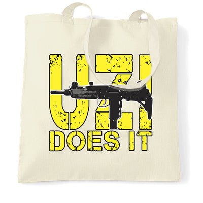 Novelty Shooting Tote Bag Uzi Does It Slogan