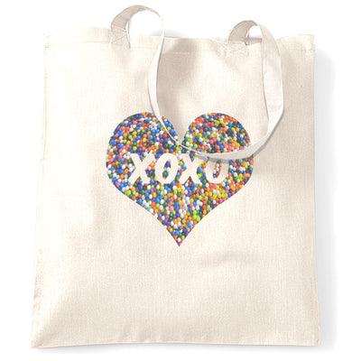 Sweetheart Tote Bag XOXO Love And Kisses Logo