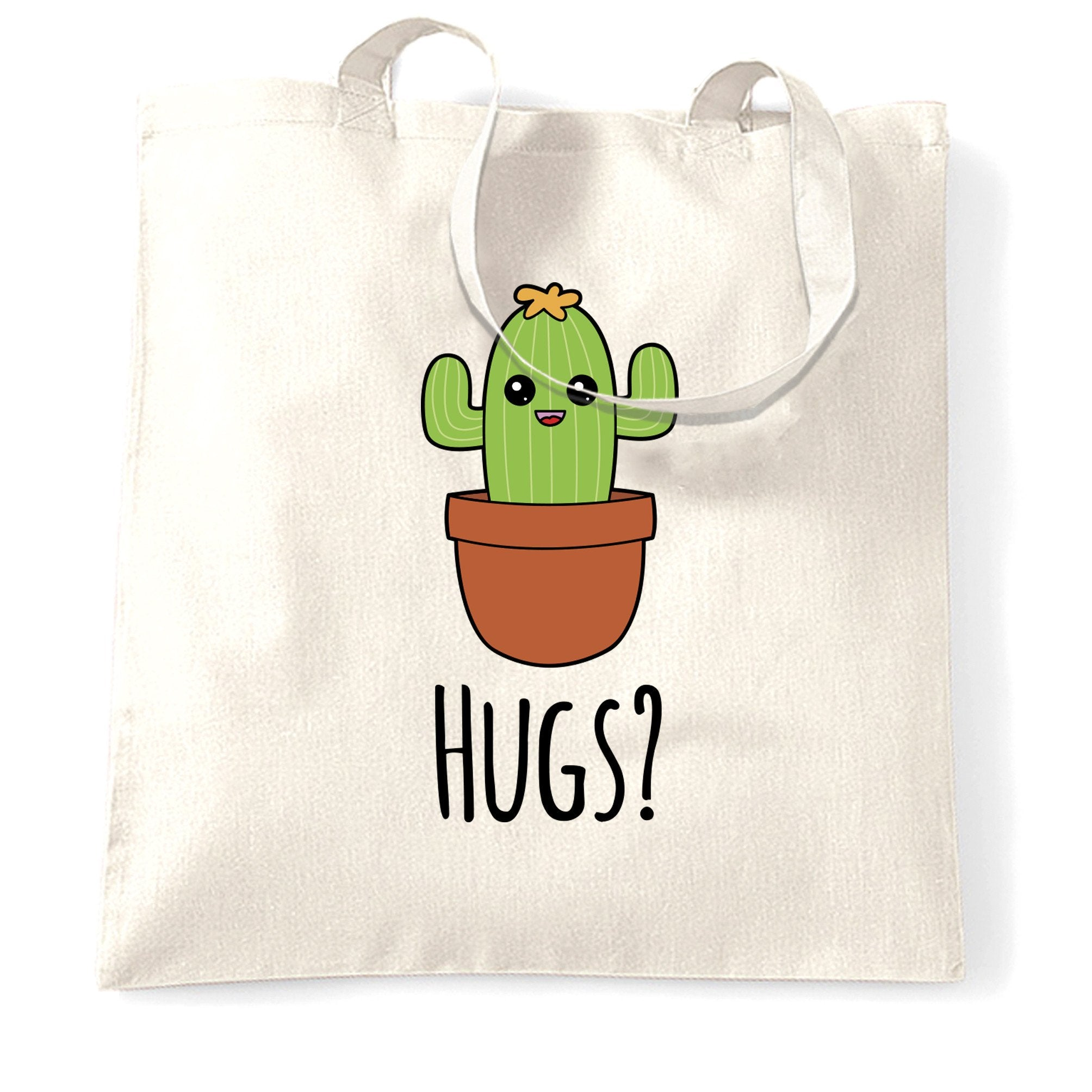 Novelty Tote Bag Cactus Wants Hugs Design