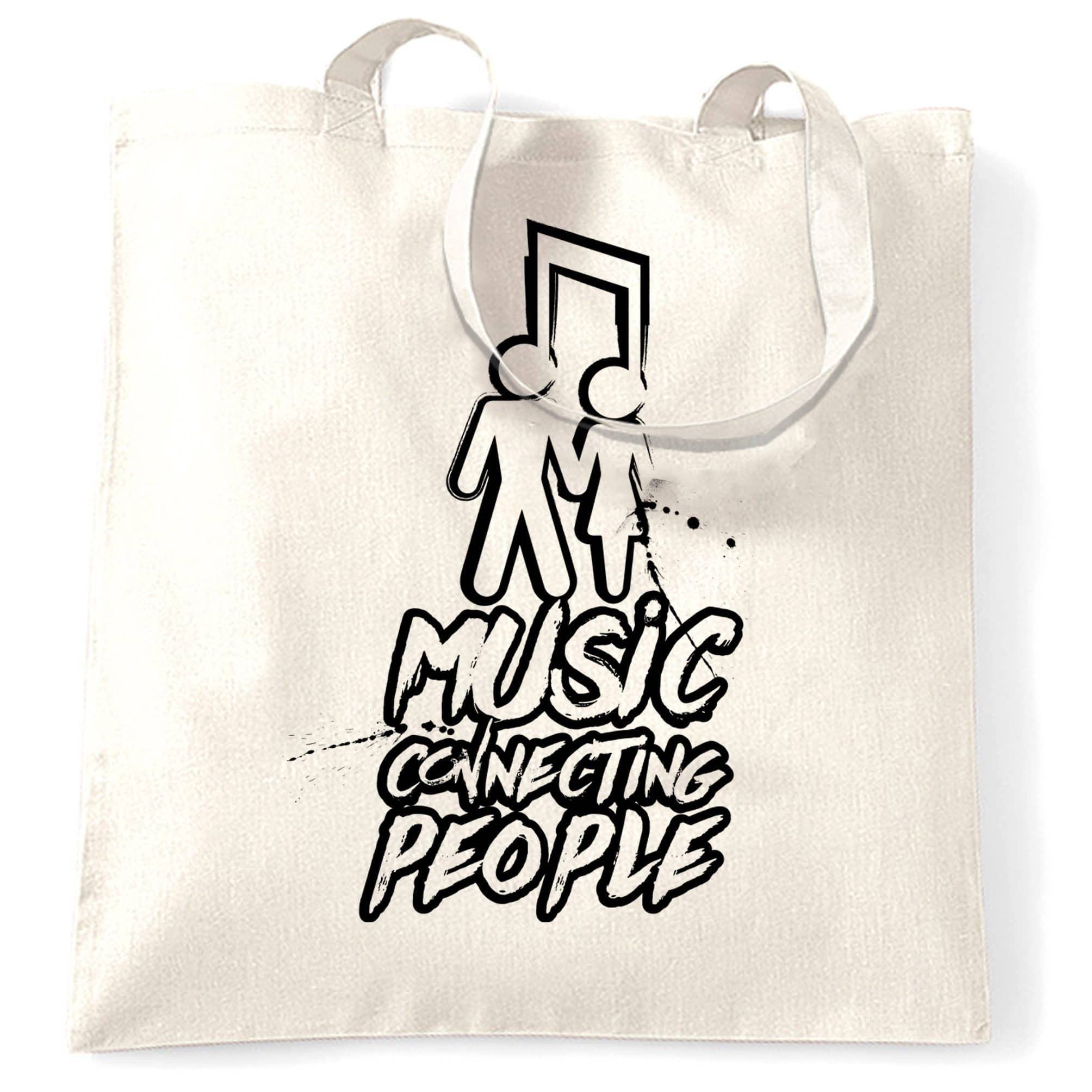 Cute Couples Tote Bag Music Connecting People Slogan