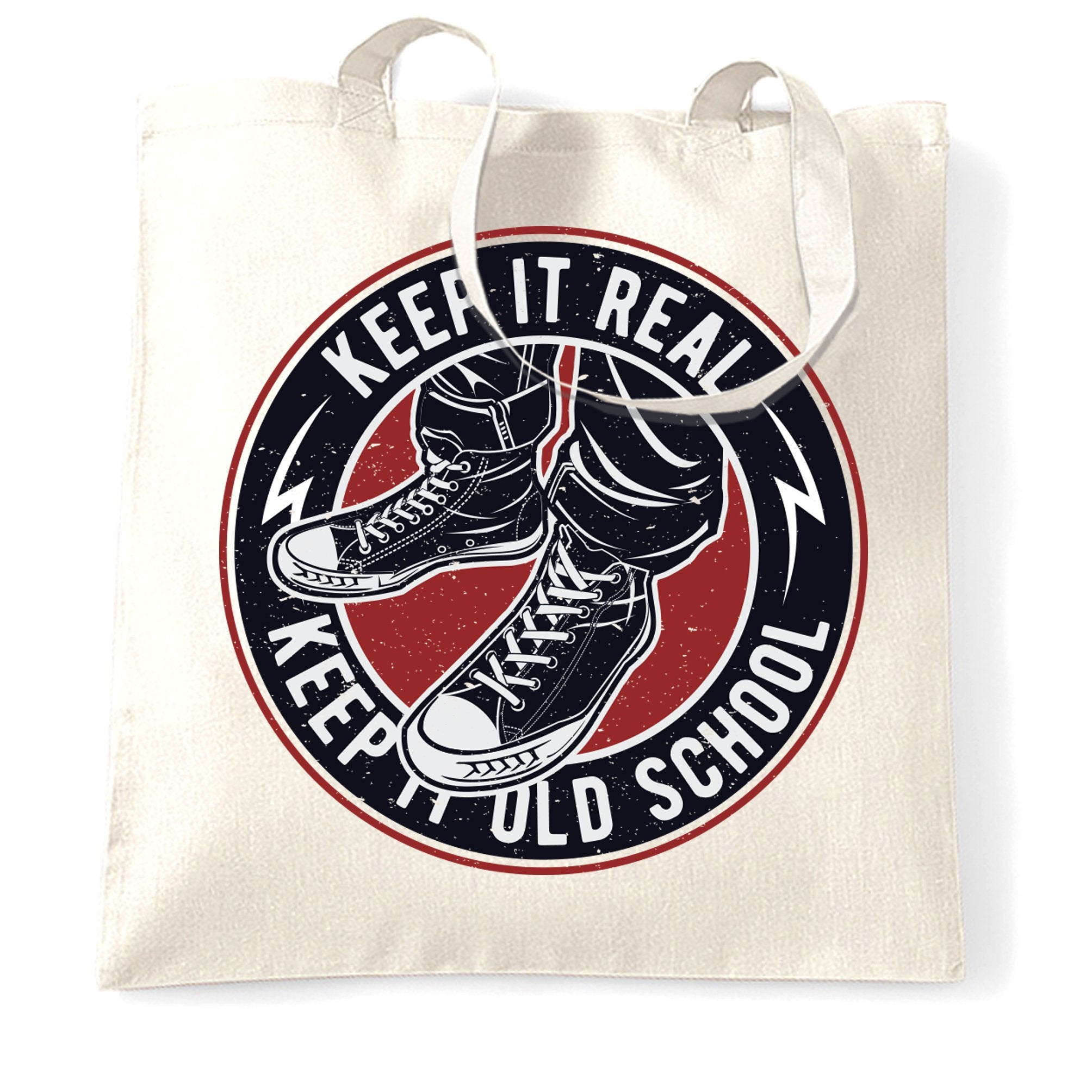 Retro Tote Bag Keep It Real, Keep It Old School Logo