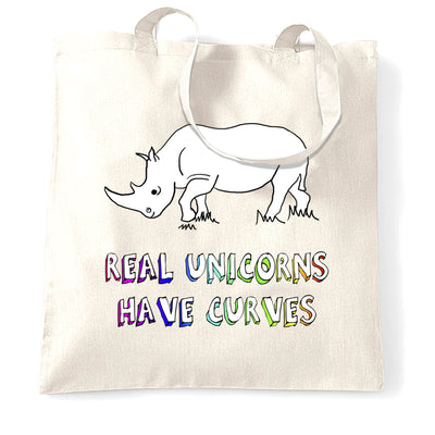 Novelty Tote Bag Real Unicorns Have Curves