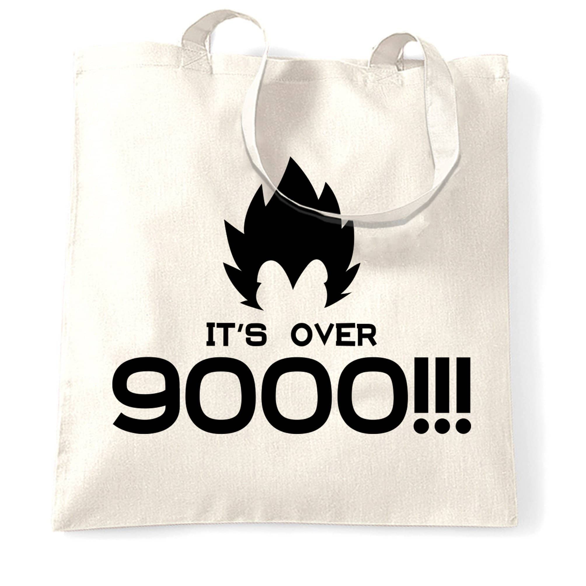 Novelty Anime Parody Tote Bag It's Over 9000!! Slogan