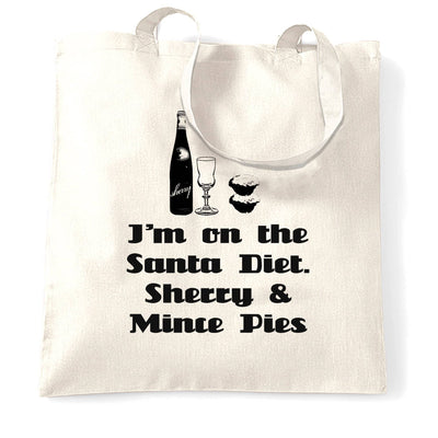 Novelty Christmas Tote Bag I'm On The Santa Diet Slogan