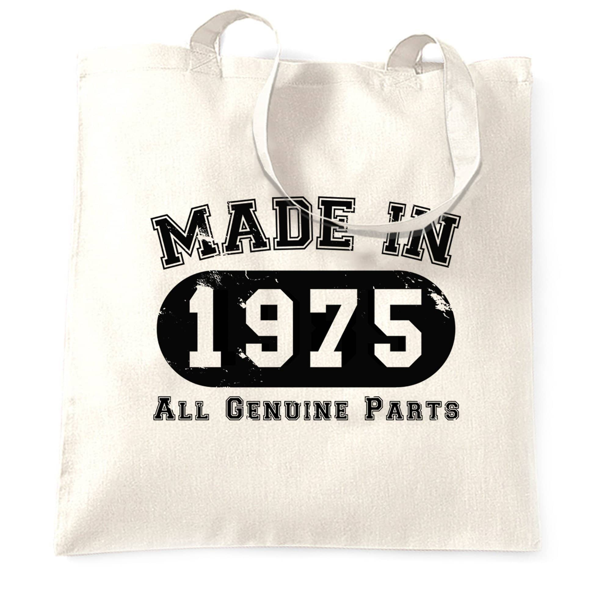 Birthday Tote Bag Made in 1975 All Genuine Parts