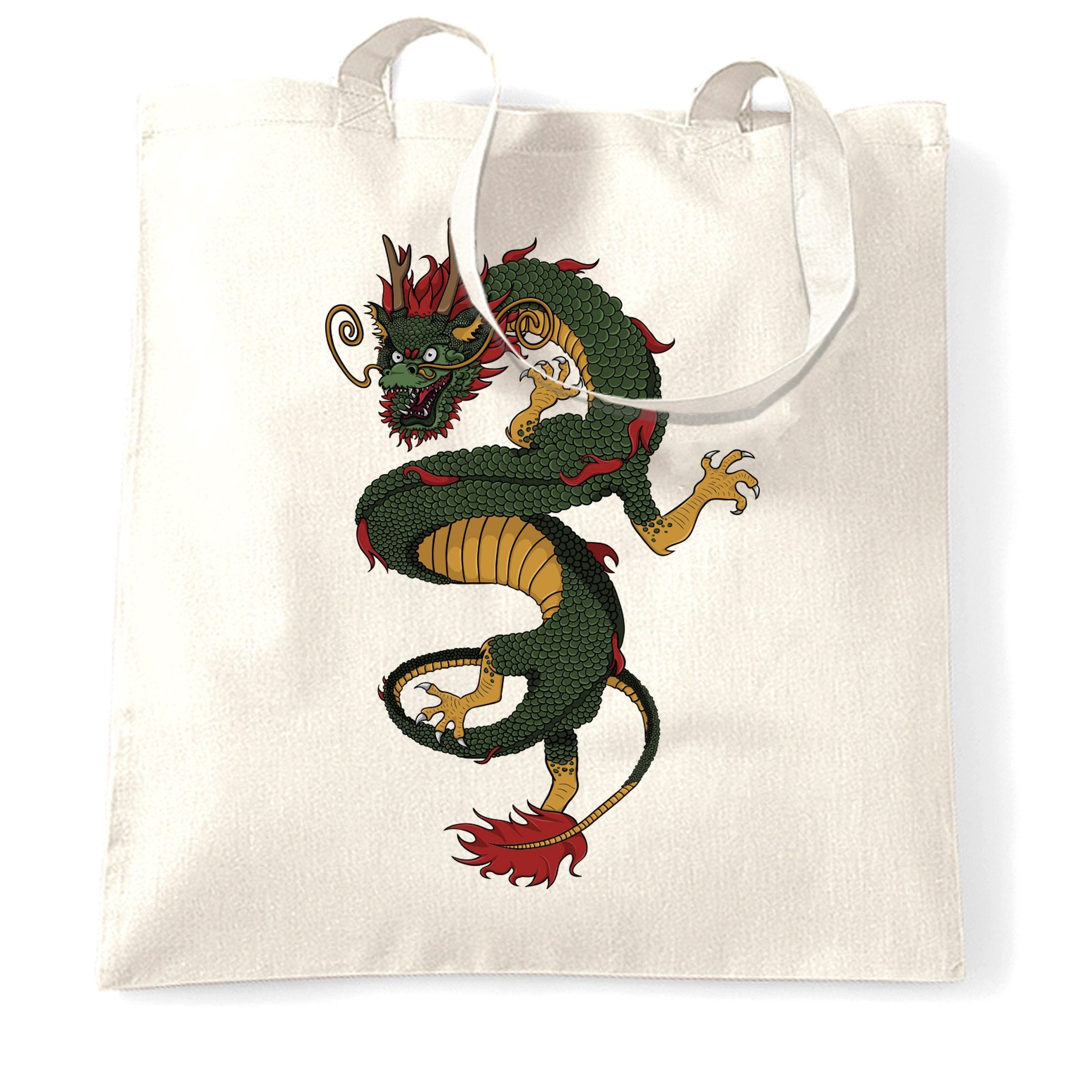 Traditional Chinese Tote Bag Serpent Dragon Art
