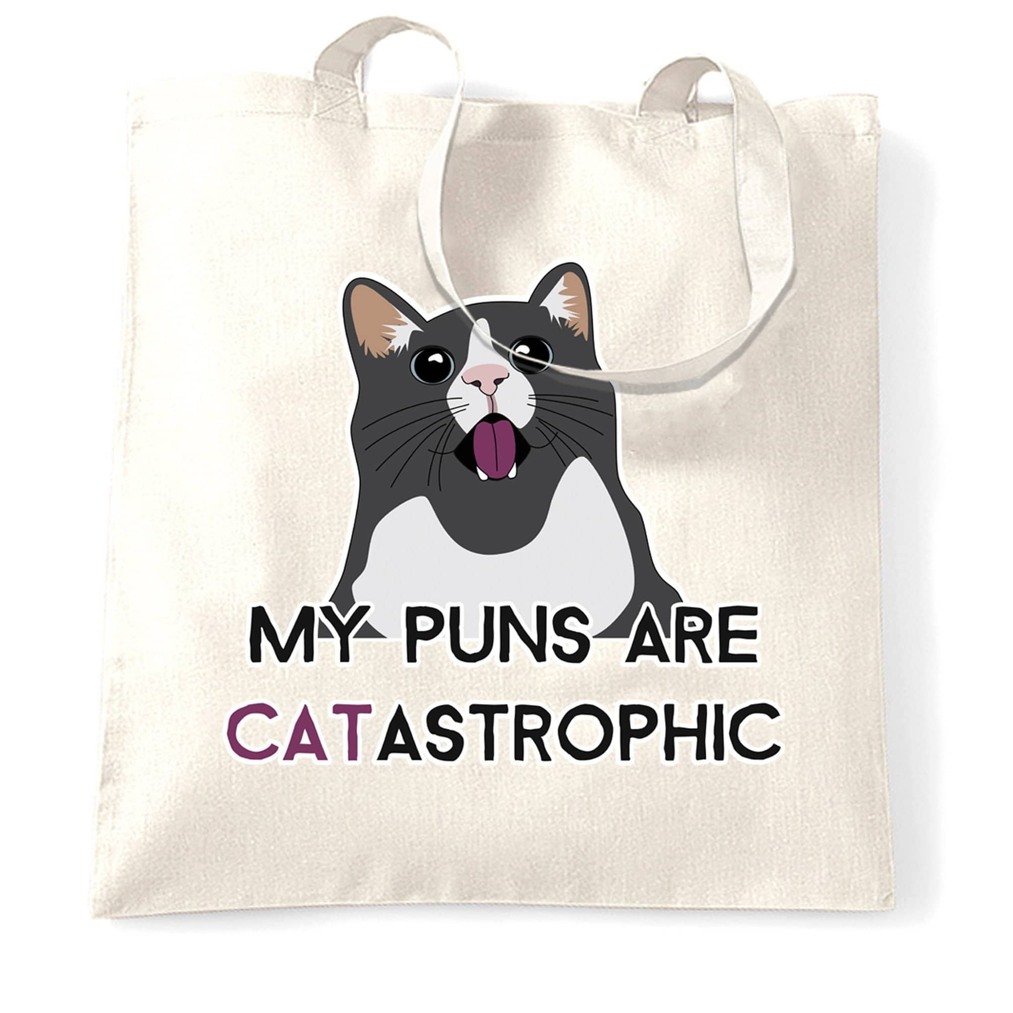 Novelty Cat Tote Bag My Puns Are Catastrophic Joke