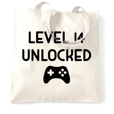 14th Birthday Gamer Tote Bag Level 14 Unlocked Slogan