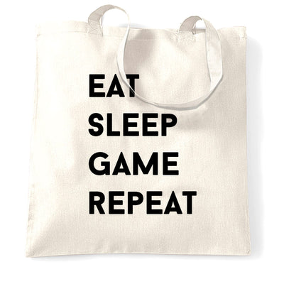 Nerd Tote Bag Eat, Sleep, Game, Repeat Slogan