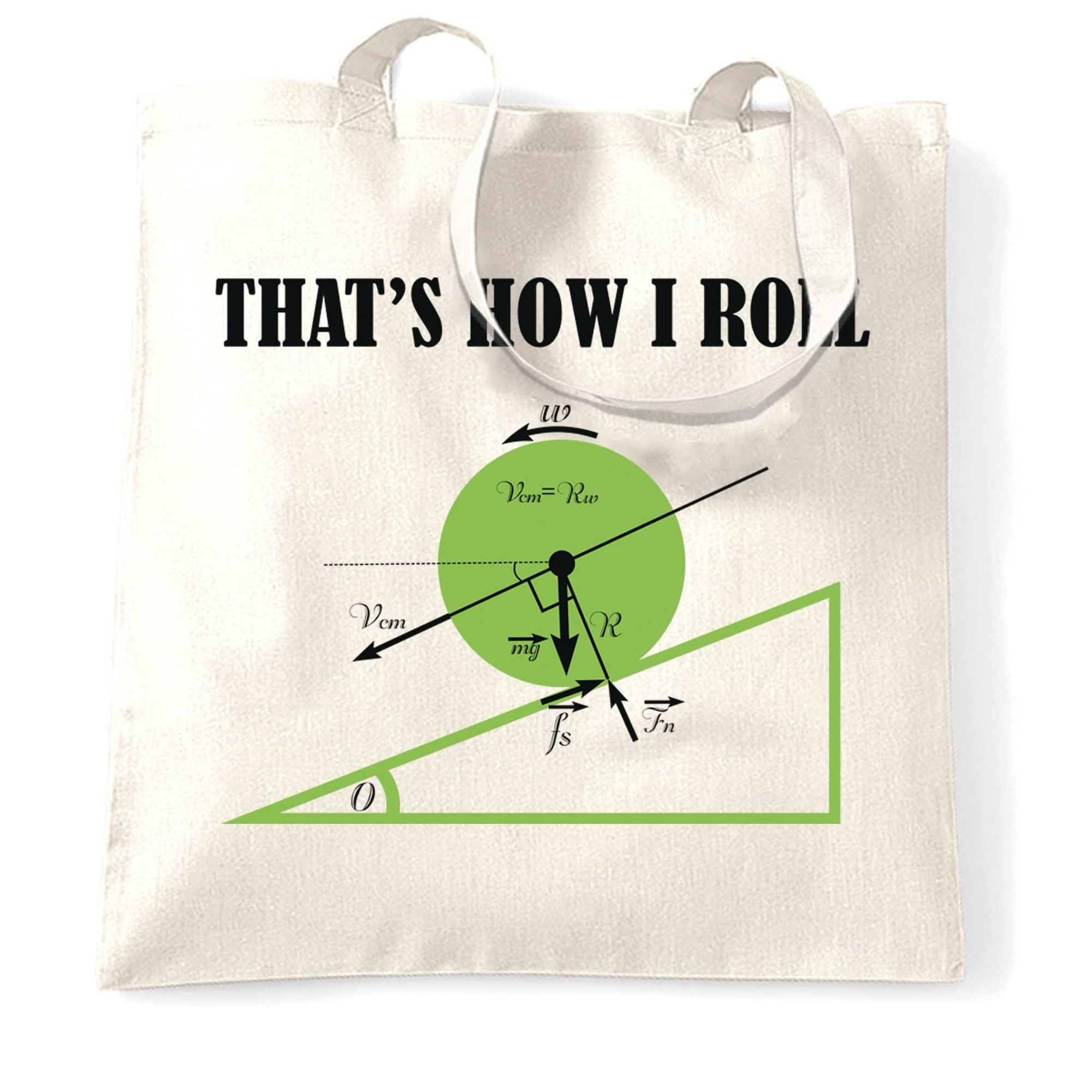Novelty Math Tote Bag That's How I Roll Physics Joke