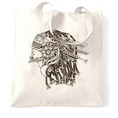 Sci-Fi Art Tote Bag Futuristic Mechanical Woman