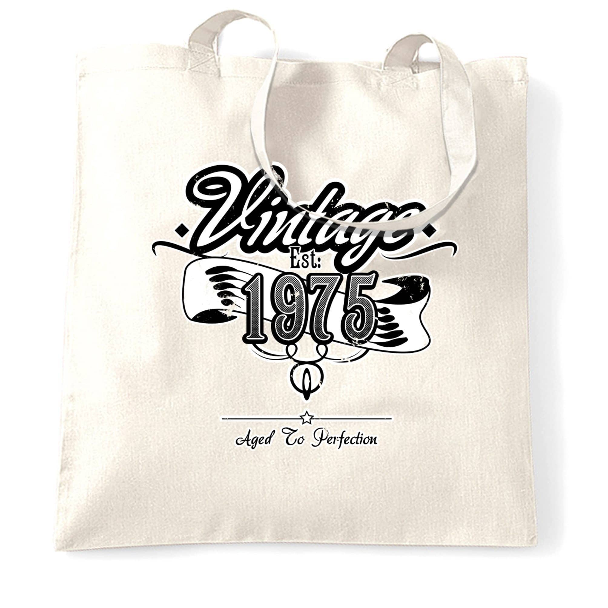 Birthday Tote Bag Vintage Est. 1975 Aged To Perfection