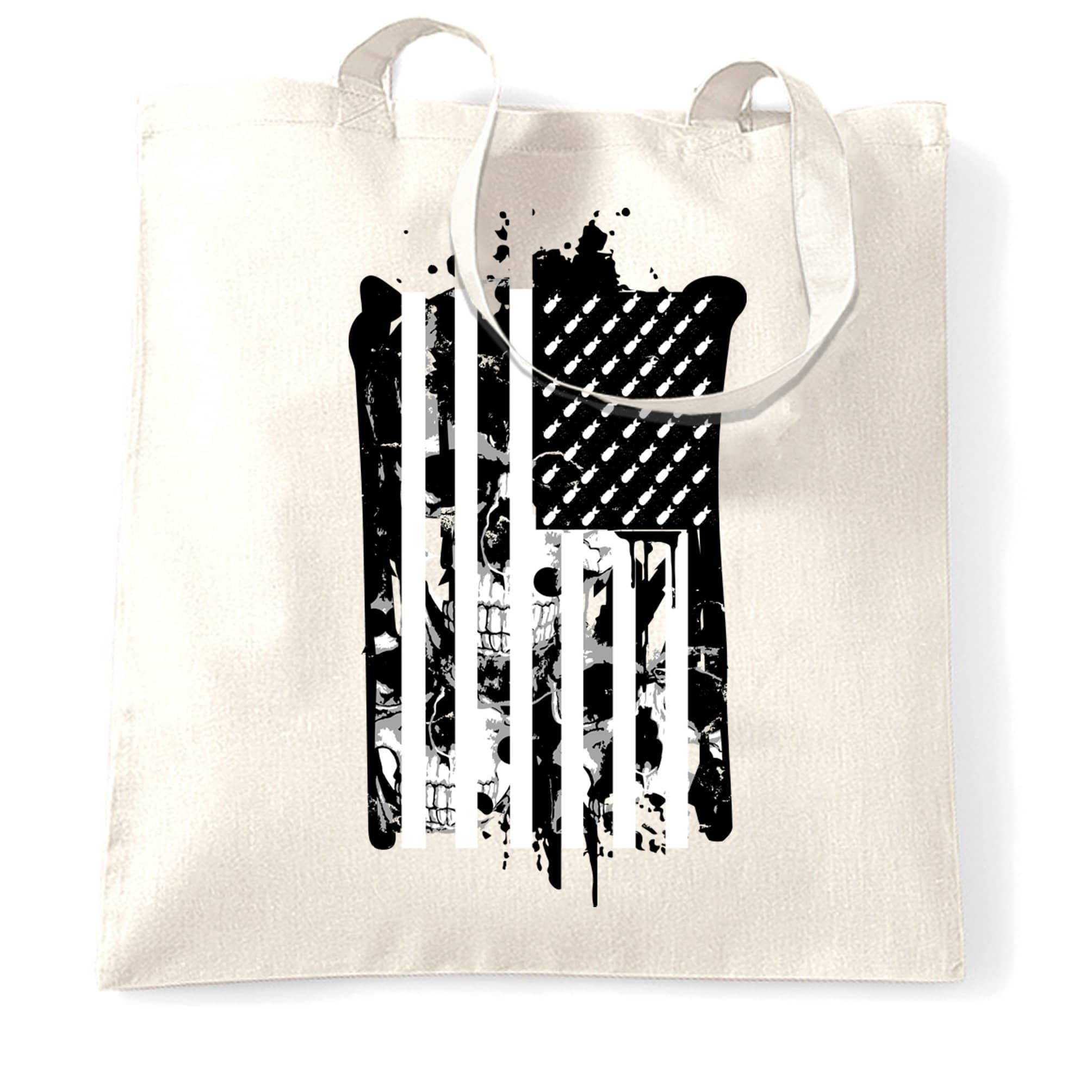 American Flag Tote Bag Stylised with Skulls and Bombs