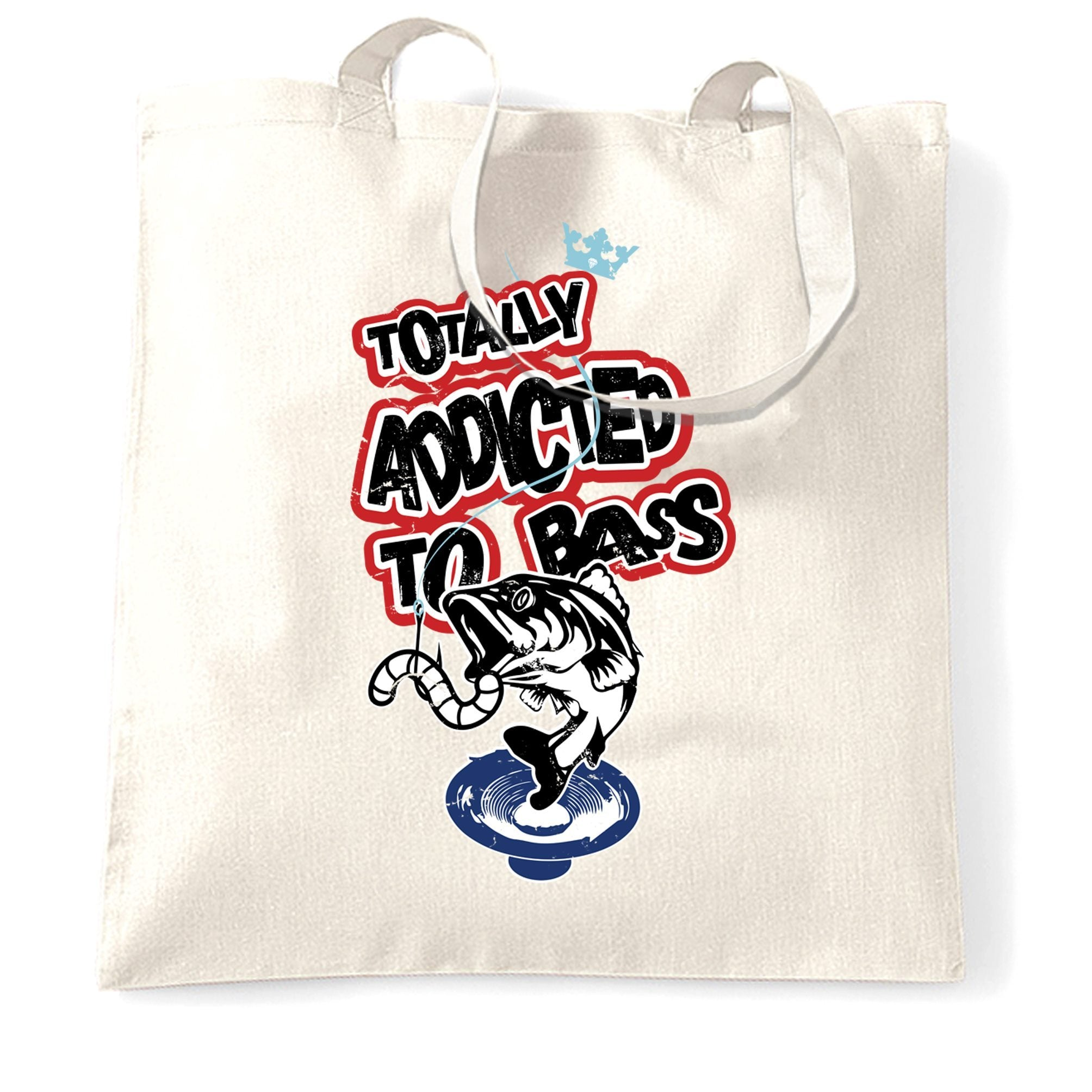 Novelty Music Tote Bag Totally Addicted To Bass Fish