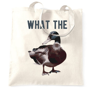Novelty Pun Tote Bag Funny What the Duck Joke