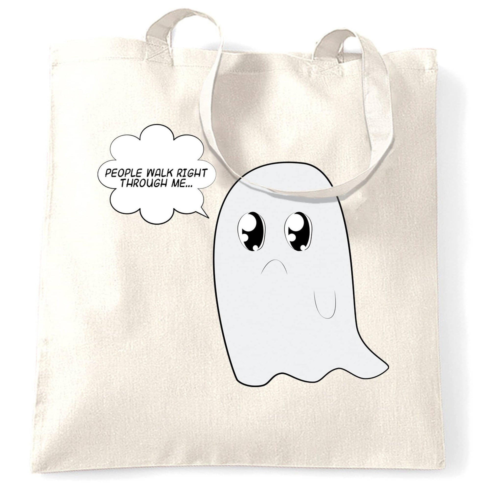 Cute Ghost Tote Bag People Walk Right Through Me Joke