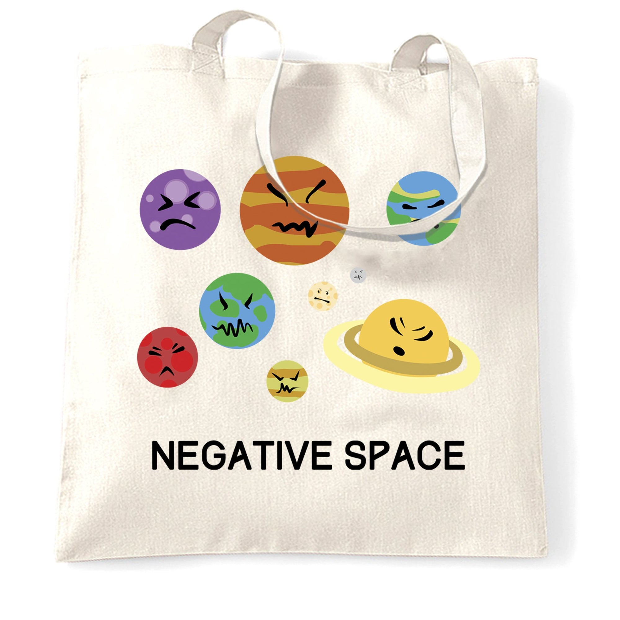 Solar System Joke Tote Bag Negative Space And Planets